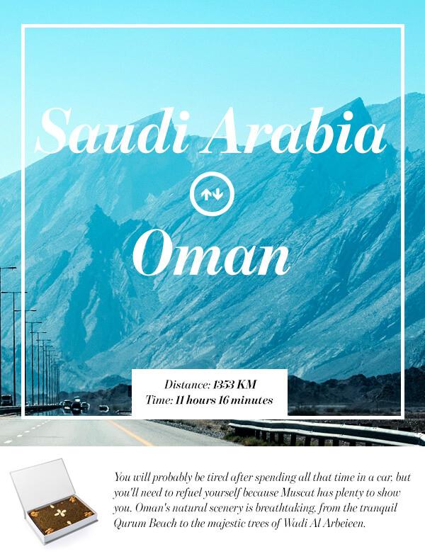 Riyadh, Saudi Arabia to Muscat, Oman