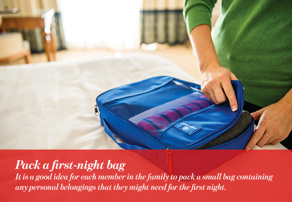 Pack a first-night bag