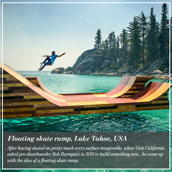 Floating skate ramp, Lake Tahoe, USA