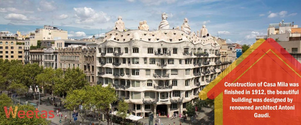 The most beautiful modernist architecture: Casa Mila in Barcelona, Spain