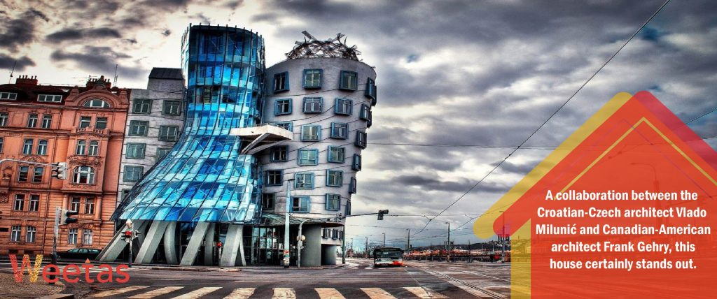 The most beautiful deconstructivism architecture: The Dancing House in Prague, Czech Republic