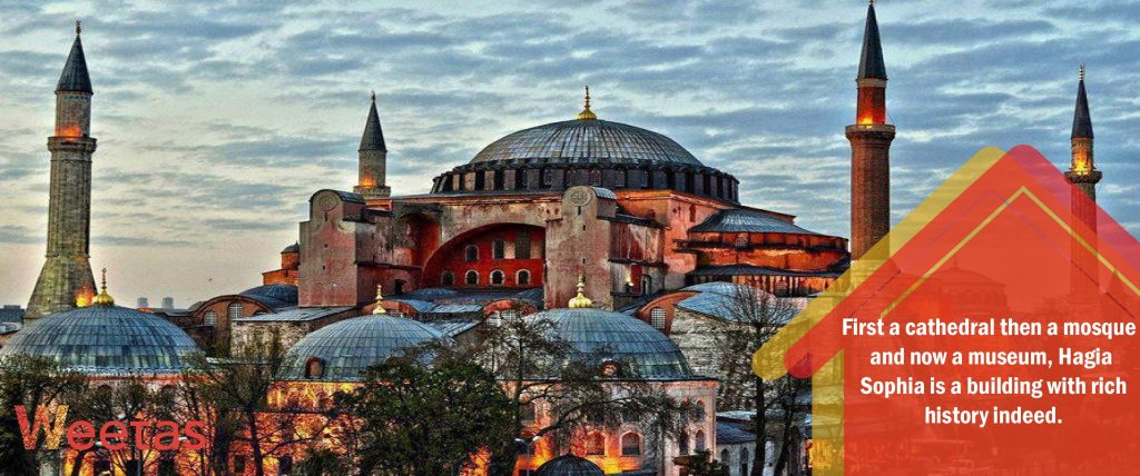 The most beautiful Byzantine architecture: Hagia Sophia in Istanbul, Turkey
