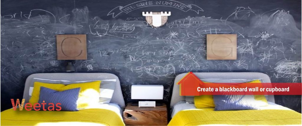 Create a blackboard wall or cupboard