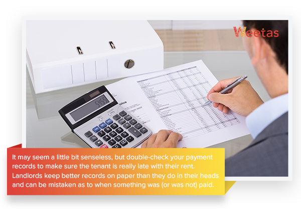 Check the payment records and lease documents