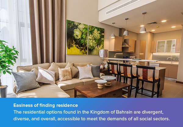 Easiness of finding residence in Bahrain