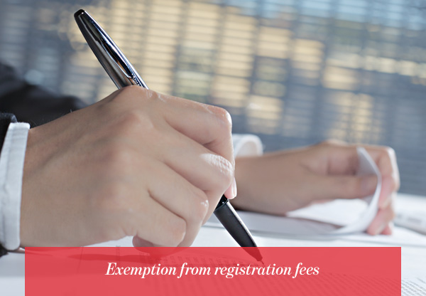 Exemption from registration fees