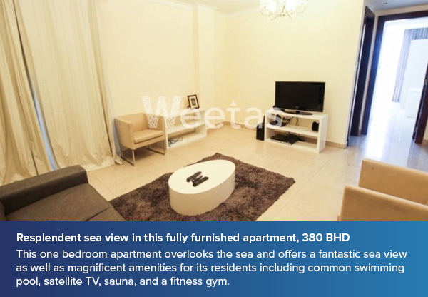 Resplendent sea view in this fully furnished apartment, 380 BHD